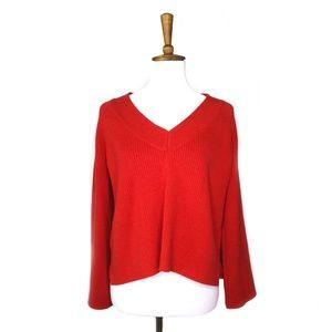 Frame red v-neck cropped oversized sweater, sz M